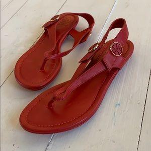 Red Tory Burch Miller sandals